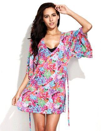 Digital Floral Print Beach Dress Beachwear Swimdress - She In