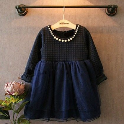 Navy With Pearls Winter Party Frock - Lil Mantra
