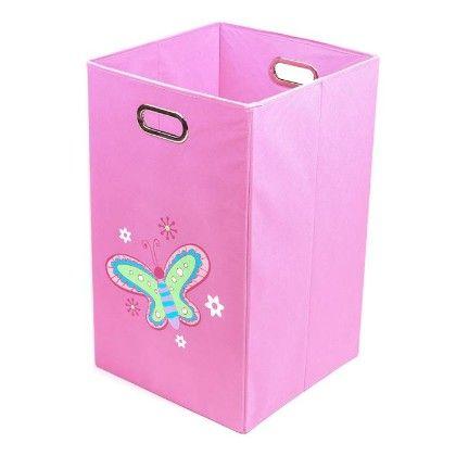 Nuby Light Pink Butterfly Folding Laundry Bin - Modern Little
