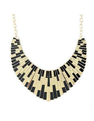 Black Shining Bib Collar Necklace - She In