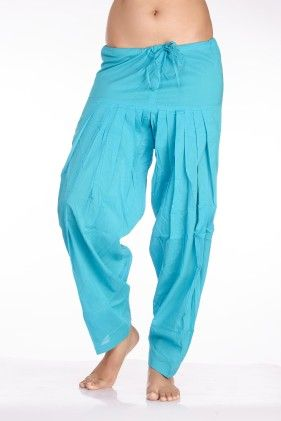 In-sattva Women's Indian Rich Colored Patiala Pants- Blue - In Sattva