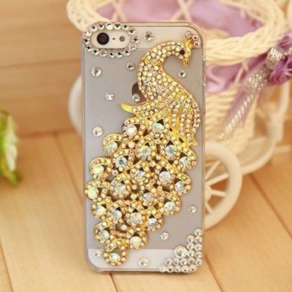 Luxury Rhinestone Transparent Crystal Phone Cover With Hard Case(golden Peacock Design) - Dressingloft