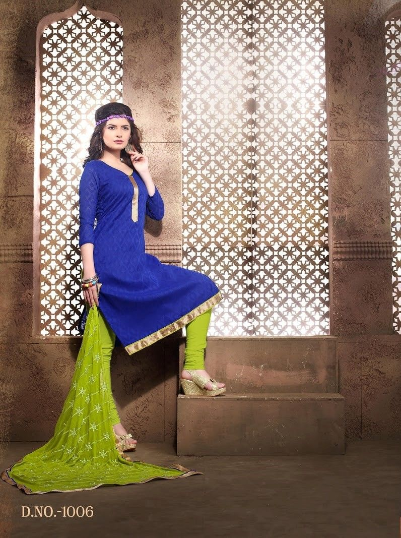 Blue And Green Cotton Dress Material - Fashion Fiesta