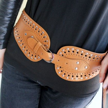 Yellow Patent Leather Rivet Wide Belt - She In