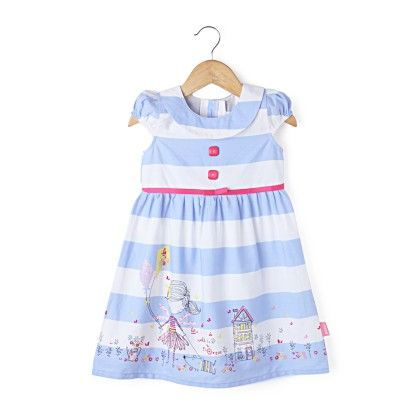 Cap Sleeve Stripe Dress With Collar  - Blue - Chocopie