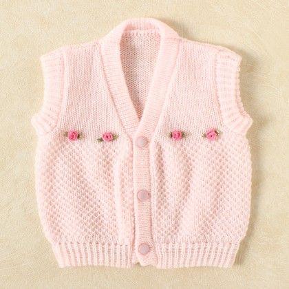 Baby Pink & White Blended Vest - Knitting Nani