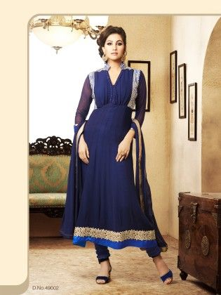 Touch Trends Blue  Georgette Dress Material-2 - Touch Trends Ethnic
