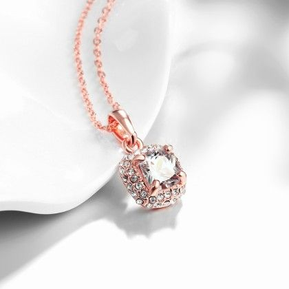 Rose Gold Plated Geometric White Topaz Necklace With Swarovski Elements - Rubique Jewelry