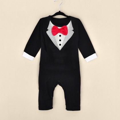 Baby Boy Long Sleeve Fancy Bowknot Jumpsuit - Black - Kidsloft