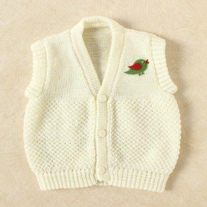 Off White & White Blended Vest - Knitting Nani