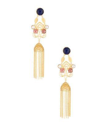Golden Ethnic Chain Studded Jhumki's Decked With Blue Stone - Voylla