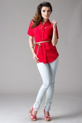 Shirt With Lace Trim Top-red - Heppin