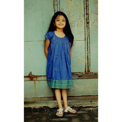 Girls Gamcha Pleated Frock Blue - Indigene