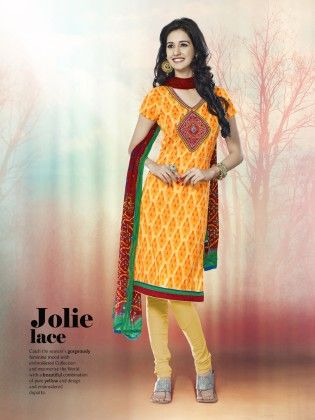Touch Trends Yellow Printed Cotton Dress Material-1 - Touch Trends Ethnic