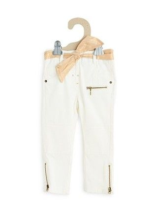 Slim Cut Zip Detail Trousers + Scarf Belt - Kiabi