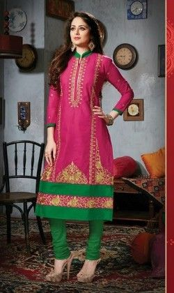 Pink And Green Semi Stitched Suit - Fashion Fiesta