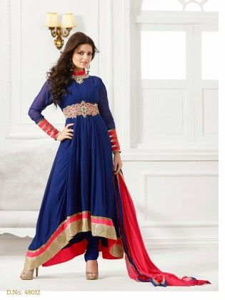 Touch Trends Blue Georgette Dress Material-1 - Touch Trends Ethnic