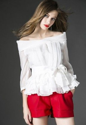 Off Shoulder Top With Red Short - Drape In Vogue