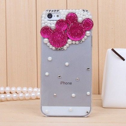 Luxury Rhinestone Transparent Crystal Phone Cover With Hard Case(mickey Design-hot Pink) - Dressingloft