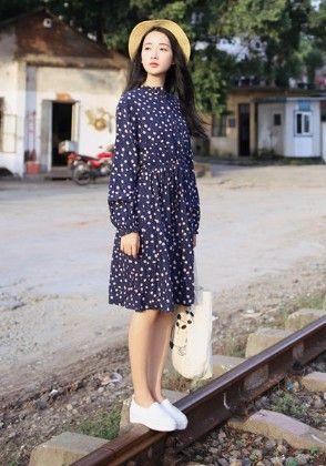 Blue Flower Dress - Drape In Vogue
