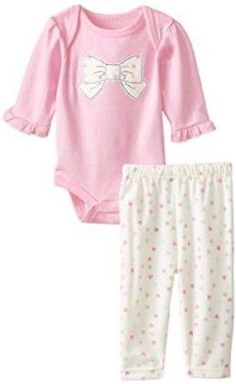 Pink Bow Bodysuit & Super Soft Velour Pant Set - Bon Bebe