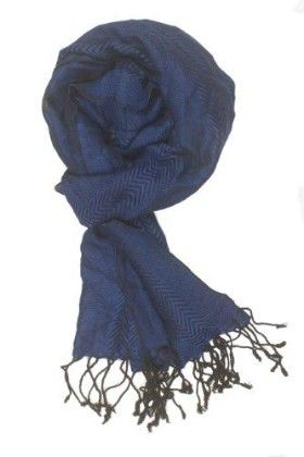 In-sattva Colors – Two-tone Horizontal Stripes Scarf Stole Blue - In Sattva