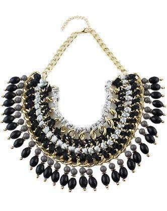 Black Bead Tassel Necklace - She In