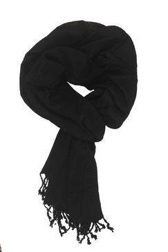In-sattva Colors Decorative Border Scarf Stole Wrap Black - In Sattva