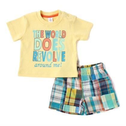 World Revolve Around Me Boys Set With Patch Work Checks Shorts - TOFFYHOUSE