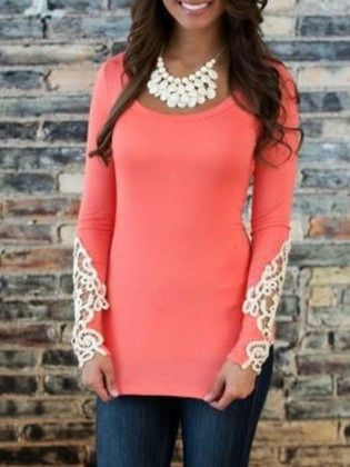 Contrast Lace Hollow Slim Pink T-shirt - She In