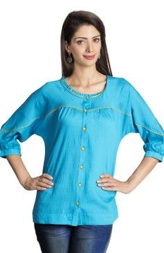 Mohr Women's Tunic Shirt With  Three-quarter Sleeves Mid Blue