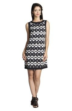 Mohr Women's Sleeveless Printed Dress Black-white Print