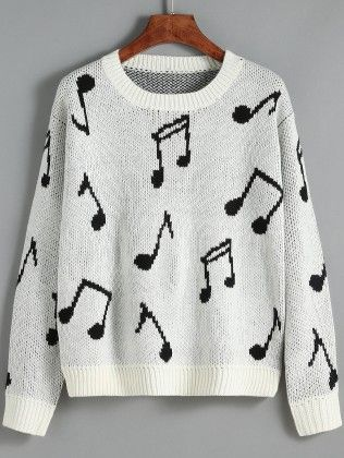 White Round Neck Note Print Sweater - She In