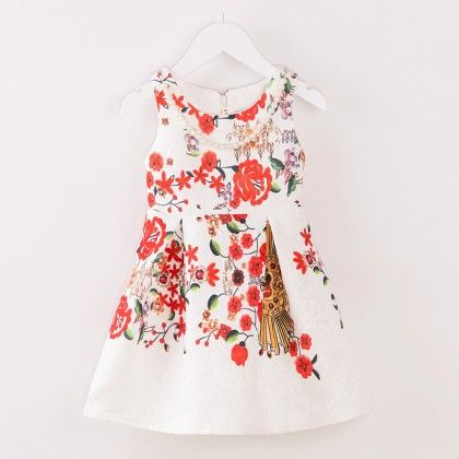 White Printed Winter Party Frock - Lil Mantra