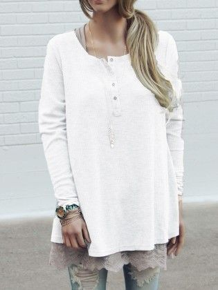 White Long Sleeve Buttons Loose Knitwear - She In
