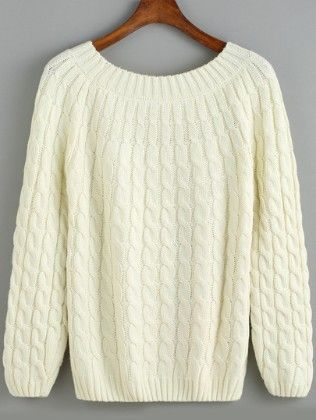 White Round Neck Cable Knit Sweater - She In