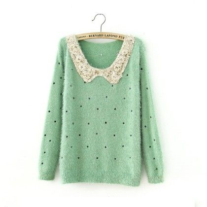 Neck Sequnce Cardigan Green - STUPA FASHION