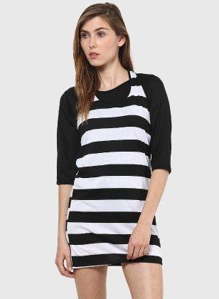 Dressvilla Black & White Striped Dress