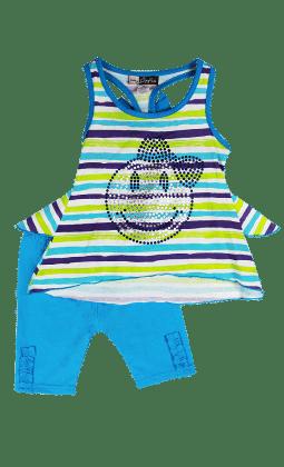 Sleeveless Blue Stripe Top And Leggings Set - Baby Ziggles