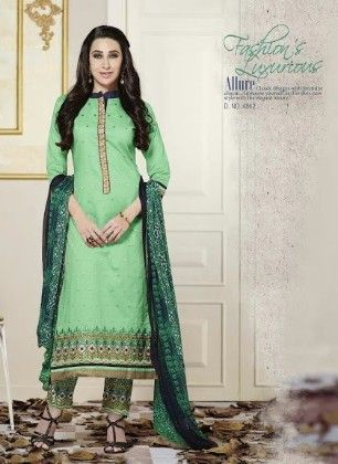Light Green Cotton With Embriodery Dress Material - Fashion Fiesta