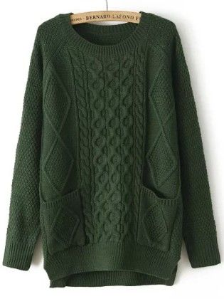 Green Round Neck Pockets Cable Knit Sweater - She In