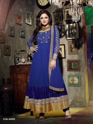 Touch Trends Blue Faux Georgette Dress Material - Touch Trends Ethnic