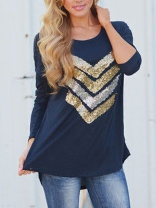 Navy Round Neck Sequined Loose T-shirt - She In