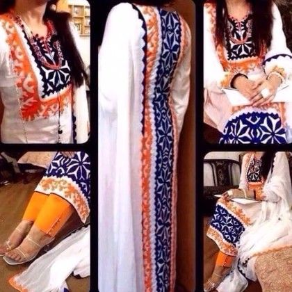 Designer Suit - White And Blue Color - Naari Aavran