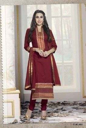 Dark Pink Cotton With Embriodery Dress Material - Fashion Fiesta