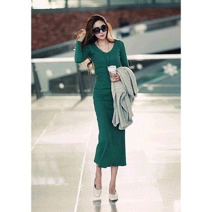 Green Cotton Winter Long  Dress - STUPA FASHION