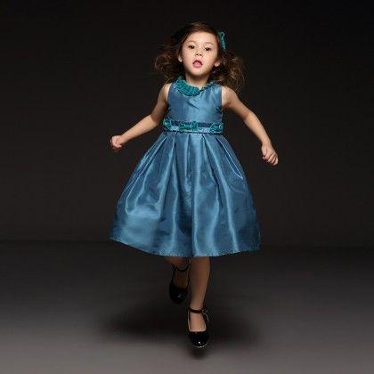 Peacock Blue Party Wear Dress - Petite Kids