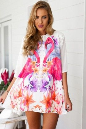 Printed White Dress - Enigma