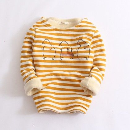 Striped Warm Fleece Sweatshirt-mustard - Prince-Town