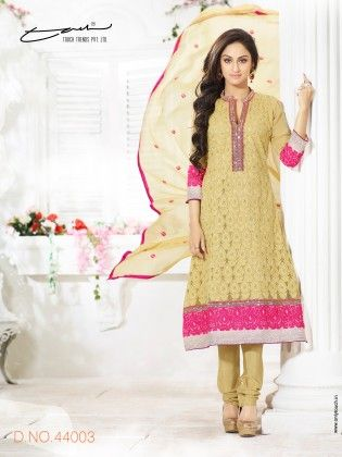 Touch Trends Beige Faux Georgette Dress Material - Touch Trends Ethnic